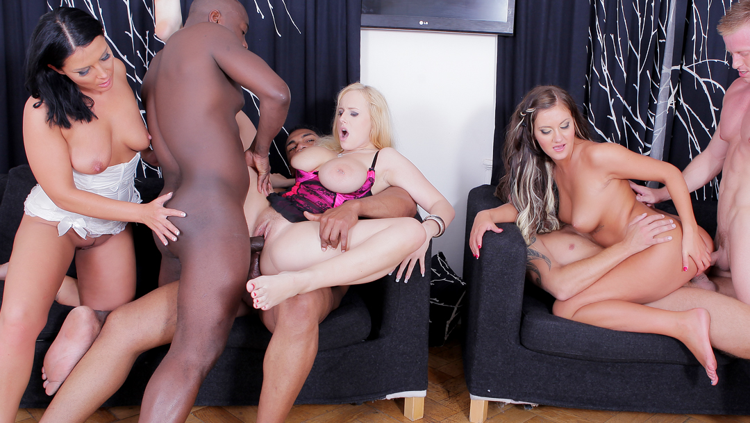 Three Raunchy Sluts Have All Nine of Their Holes Invaded by Four Big Cocks